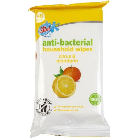 Rengöringsservetter Antibakteriell Citrus & Mandarin